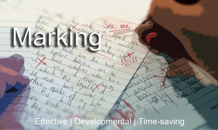 A teacher marking a exam paper